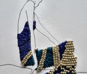 [Image: Custom Fashion Illustration &/or Lettering with Embroidery and Beading on Canvas.]