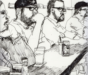 [Image: Drawing around Baltimore, cityscape, people]
