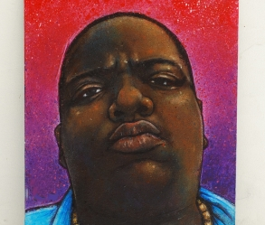 [Image: Rapper face/headshot portrait in acrylics on 5 x 7 board]