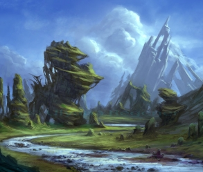 [Image: Detailed digital fantasy landscape painting]